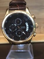 Guess Steel U14504G1 Large Men's Chronograph Quartz Watch. New Battery. New Band