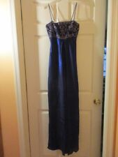 MORGAN AND CO. BY LINDA BERNELL MIDNITE BLUE PROM/EVENING/BRIDAL GOWN SIZE 3/4