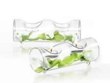 JoyJolt Ambient Tea Light Candle Holders, 2 Piece Clear Glass Centerpiece