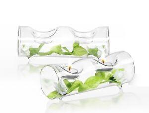 JoyJolt Ambient Tea Light Candle Holders, 2 Piece Clear Glass Centerpiece