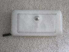 Coach White Ivory Sonoma Pebbled Leather Accordian Zip Around Wallet Bag Purse