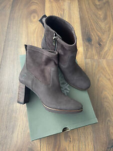 New Timberland Leslie Anne Side Zip Brown Nubuck Boots Shoes Size UK 7 EU 40