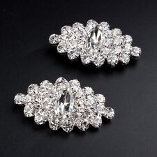 1 Pair Crystal Tone Boots Shoe Buckle Silver Rhinestone Shoe Clips Accessories