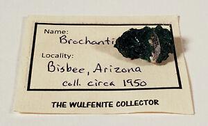 BROCHANTITE MINERAL CRYSTAL DISPLAY SPECIMEN BISBEE ARIZONA COLLECTED CIRCA 1950