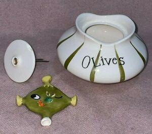Holt Howard Pixieware 1958 Olives Condiment Jar AS IS Mid Century Pixie VINTAGE