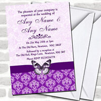 Cadbury Purple Vintage Floral Damask Butterfly Wedding Invitations
