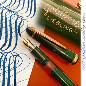 1957 GOLDFINK LIEBLING GREEN DARLING SUPER FLEX SOFT UNUSED VINTAGE FOUNTAIN PEN