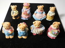 """Country Bears 8 Figures 2"""" Tall Painted Cast Resin Accordian Flowers Etc Vg+"""