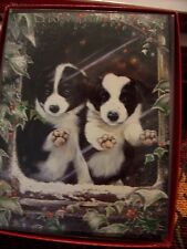 Leanin Tree Christmas Card Set Adorable Border Collies 12Pk New