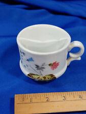 Antique Porcelain Mustache Mug Coffee Tea Cup Butterflies Flowers VTG 2 Parts
