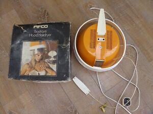 Vintage PIFCO BOUTIQUE HOOD HAIRDRYER ORANGE Retro Helmet Professional Collectib