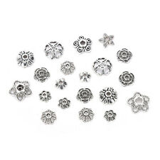 60g/250pcs Antiqued Silver Hollow Flower End Bead Caps For Jewelry Craft M&C