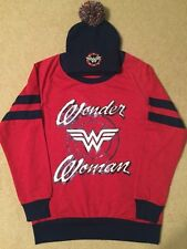 WONDER WOMAN Justice LEAGUE Women's JUNIORS Long SLEEVE Sweat SHIRT Beanie HAT
