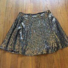 Xhilaration Gold Sequin Skater Mini Skirt Women's Medium