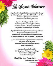 """RELIGIOUS PERSONALIZED MOTHER'S  POEM """"A GOOD MOTHER"""" GIFT for Birthday"""