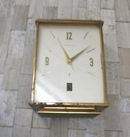 Tiffany & Co. Solid Heavy Brass Table Clock Swiss Made Date Window AS IS SS-204
