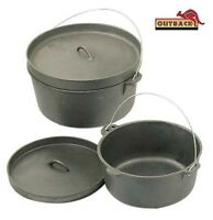 4.5 Qt Cast Iron Dutch Camp Oven Lipped Lid Pot Pan Camping Outdoor Cooking 4WD