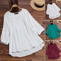 ZANZEA Women Long Sleeve Casual Embroidered Shirt Asymmetrical Blouse Tops Plus