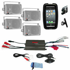 New Marine Boat Bike ATV 4 Channel 800W Amplifier iPod Input, 4 Silver Speakers