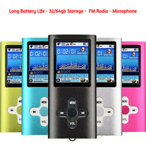 MP4 MP3 Player 32gb or 64gb MUSIC MEDIA PLAYER LCD SCREEN FM VIDEO NEW UK