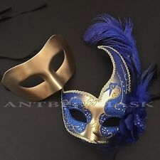 Couple Venetian Feather & Metallic Masquerade Halloween Prom Masks