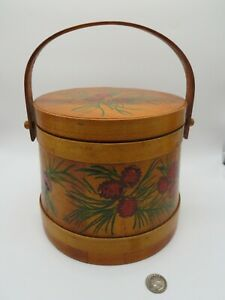 Vintage 1960's 70's Bo-ho Chic Hand made Painted Round Bucket Basket Pinecones