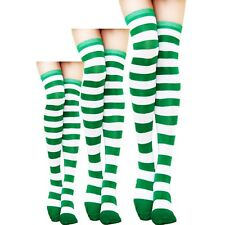 Women's Striped Thigh High Stockings Plus Size Over New Sheer Knee Cotton Socks