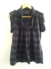 French Connection size 6 black & grey check crush cotton top with cap sleeves
