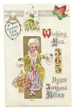 Postcard Antique Embossed Happy New Year Lady Roses 1913