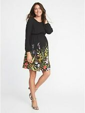 NEW! $45 OLD NAVY Waist Defined Black Floral Print Maternity DRESS Size S 4 6