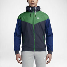 New Nike Men Windrunner Full Zip Running Jacket Hoodie 2XL 727324 451 Navy Green