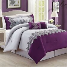 7 Piece Comforter Set King Size Bedding Bed in a Bag Bedspread Purple Gray New