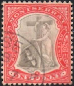 Montserrat 1907 EDVII  1d Grey-Black & Red  SG.25 Fine Used   Wmk Mult Crown CA
