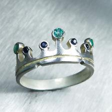 Natural Emerald & Sapphire Gold / Platinum Engagement wedding crown band ring