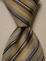 ERMENEGILDO ZEGNA Men's 100% Silk XL Necktie ITALY Luxury STRIPED Blue/Tan EUC