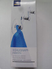 TCM Tchibo 3 Saugnapfhaken Wandhaken Handtuchhalter Haken ohne Bohren Neu