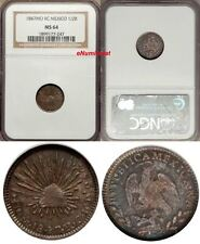 Mexico Republic Silver 1847 Mo RC 1/2 Real NGC MS64 Nice Toned KM# 370.9