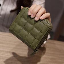 Women Leather Square ZIPPER Purses Lattice Wallet Pouch Mini Bag Card Holders Green