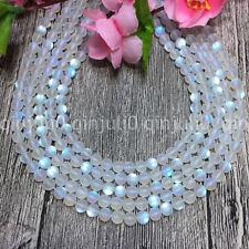 6mm White Gleamy Rainbow Moonstone Round Gems DIY Loose Beads 15'' JL414
