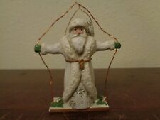 "P. Schifferl Winter White Santa On Swing W/Owl 4"" Christmas Ornament Signed"
