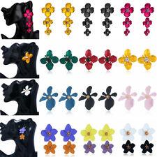 Fashion Women Crystal Flower Acrylic Pendant Statement Big Stud Earrings Jewelry
