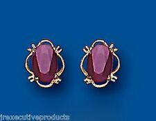 Ruby Studs Ruby Earring natural Ruby Ovals Yellow Gold ruby earrings