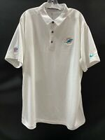 MIAMI DOLPHINS TEAM ISSUED WHITE DRI-FIT NIKE COACHES SIDELINE POLO  SIZE-XXL
