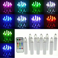 10pcs Battery Operated Flameless LED Taper Candles Tea Light With Remote Control