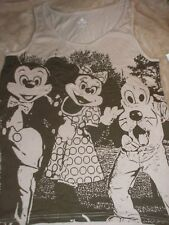Medium Woman's Brown Mickey Mouse Minnie & Pluto Tank Top NWT DIsney