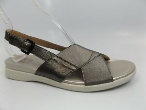 Naturalizer Womens Eliza Gunmetal Ankle Strap Flats SZ 9.5 NARROW, NEW,   11825