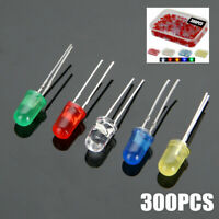300pcs 3mm LED Light Emitting 2 Pin Diod White Red Green Yellow Assorted + Box