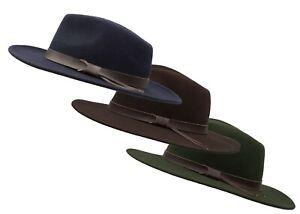 Walker & Hawkes - Unisex Ranger Fedora Crushable Felt Hat with Leather Trim