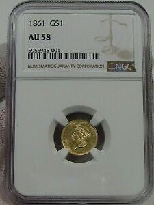 Civil War Era Choice AU 1861 Gold Dollar NGC AU58 Indian Princess Head.  #9