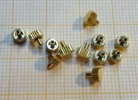 Lot mit 12 älteren,neuwertigen Aufzugskronen 4,5X0,9X2,2 mm gelb.